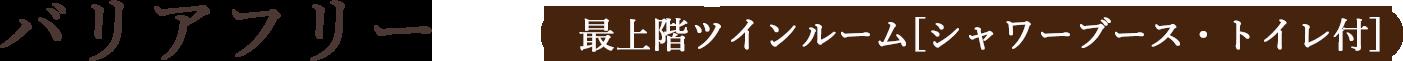 バリアフリー最上階ツインルーム[シャワーブース・トイレ付]